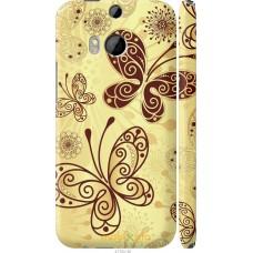 Чехол на HTC One M8 Рисованные бабочки