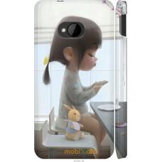 Чехол на HTC One M7 Милая девочка с зайчиком
