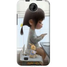 Чехол на HTC Desire 300 Милая девочка с зайчиком