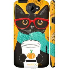 Чехол на HTC One X Осенний кот