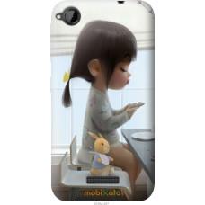 Чехол на HTC Desire 320 Милая девочка с зайчиком