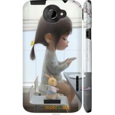 Чехол на HTC One X Милая девочка с зайчиком