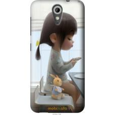Чехол на HTC Desire 620 Милая девочка с зайчиком