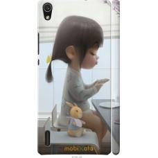 Чехол на Huawei Ascend P7 Милая девочка с зайчиком