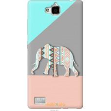 Чехол на Huawei Honor 3C Узорчатый слон