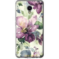 Чехол на Meizu M3e Акварель цветы