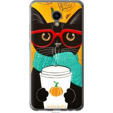 Чехол на Meizu M3e Осенний кот