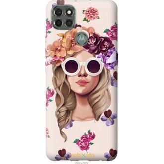 Чехол на Motorola G9 Power Девушка с цветами v2