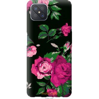 Чехол на Oppo A92S Розы на черном фоне