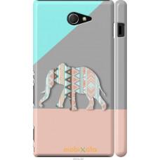 Чехол на Sony Xperia M2 dual D2302 Узорчатый слон