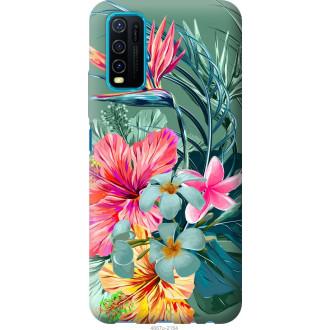 Чехол на Vivo Y30 Тропические цветы v1