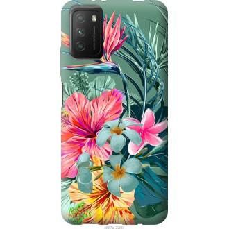 Чехол на Xiaomi Poco M3 Тропические цветы v1
